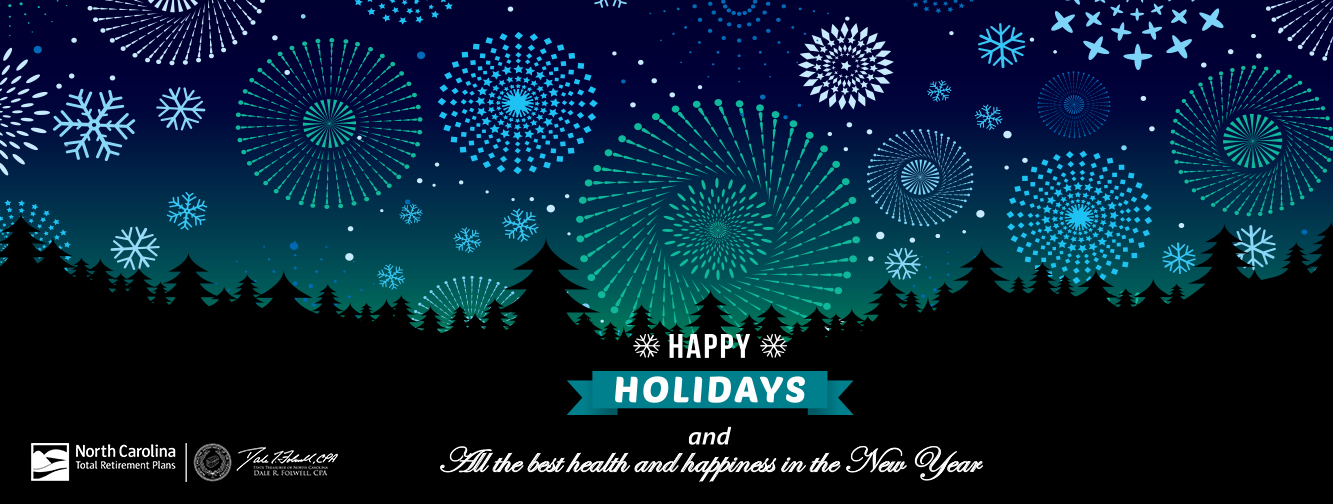 """Grahic with the words """"Happy Holidays and All the best health and happiness in the New Year"""" with the Retirement logo and fireworkds going off in the background."""