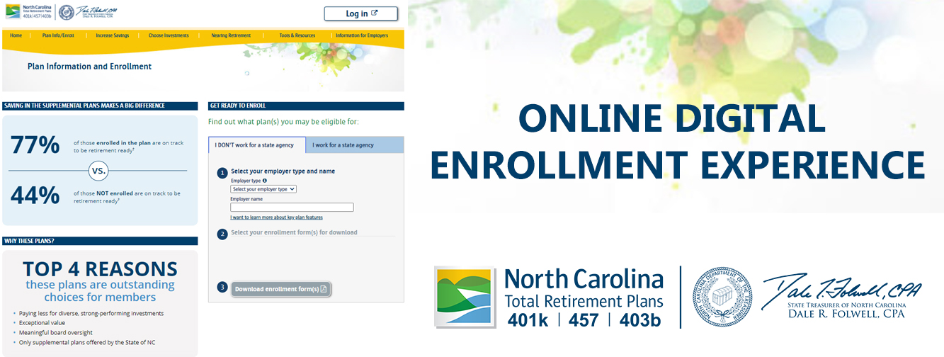 """Graphic with the words """"Online Digital Enrollment Experience"""" on it and a screenshot of the Supplemental Plans landing page on Prudential's site"""