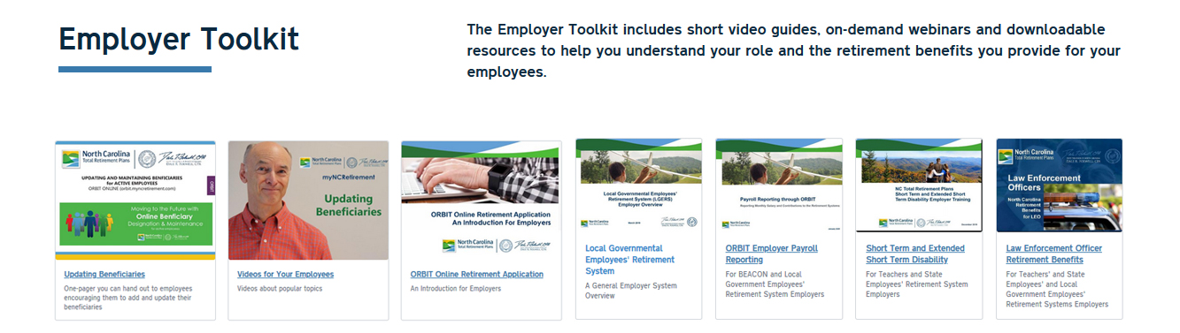 Graphic showing the types of items available on the Employer Toolkit page, including videos and documents