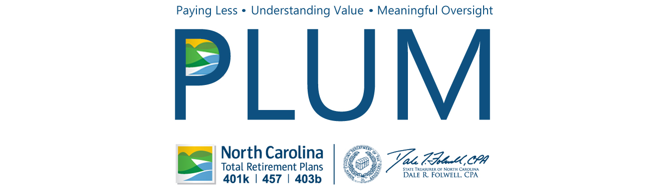 Banner with PLUM and the Retirement Systems Logo under it. Plum stands for Paying Less, Understanding Value, and Meaningful Oversight