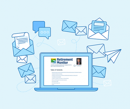 Graphic illustrating e-newsletters and email
