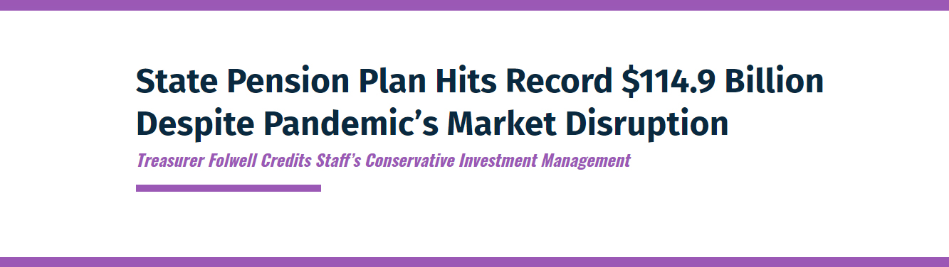Screenshot of Press Release Header: State Pension Plan Hits Record $114.9 Billion Despite Pandemic's Market Disruption