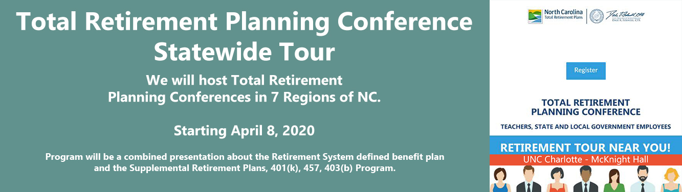Graphic showing that starting April 8, the Retirement Systems will conduct a Total Retirement Planning Conference Statewide Tour.