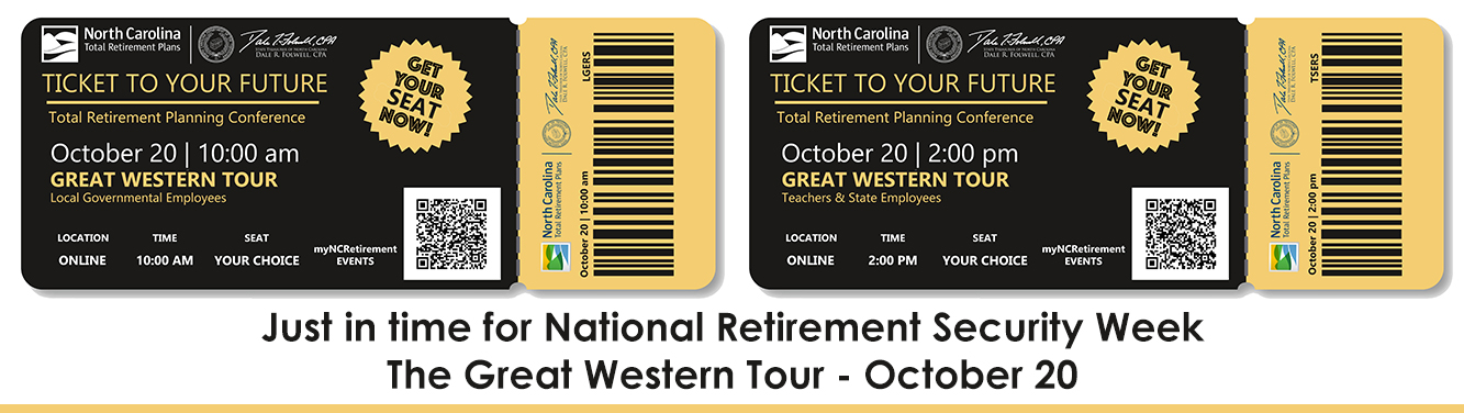 Graphic with two tickets to the Great Western Tour on Oct. 20