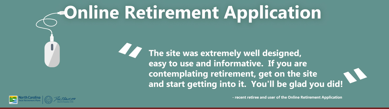"""Graphic with """"Online Retirement Application"""" on it as well as a quote extolling the virtues of using the online retirement tool."""