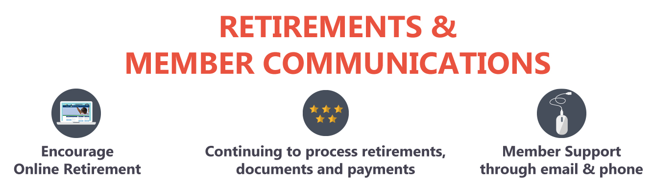 "Graphic with the words ""Retirements Member Communications"" on it"