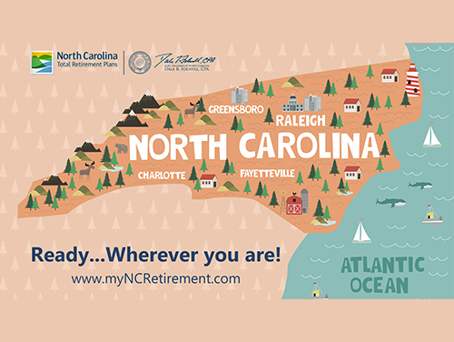 "Graphic of the state of North Carolina with the words ""Ready when you are"" on it"