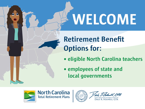 Graphic saying Welcome Retirement Benefits Options for: eligible NC teachers, employees of state and local governments