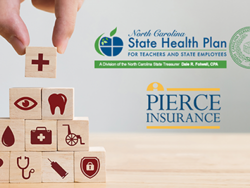 Hand stacking blocks with images of health benefits on them; also State Health Plan and Pierce Logos