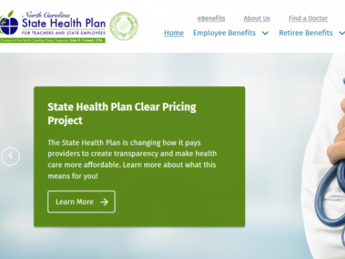 Picture of the State Health Plan website home page