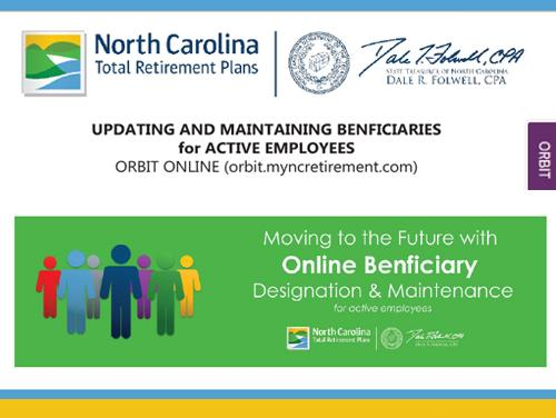 "Graphic with the words ""Updating and Maintaining Beneficiaries for Active Employees"" on it"