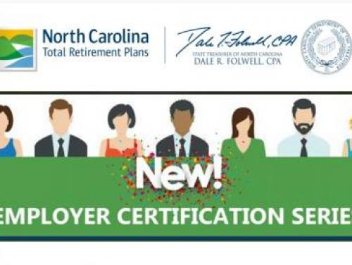 """Graphic showing different kinds of people representing employers with the words """"New! Employer Certification Series"""""""