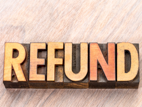 The word REFUND in all caps