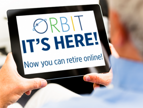 "Person looking at tablet with the words ""ORBIT Online Retirement - It's Here!"""