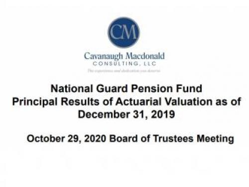 Screenshot of the first page of the NC National Guard Pension Fund Actuarial Valuation as of Dec. 31, 2019