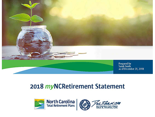 Graphic showing first page of the myNCRetirement Statement