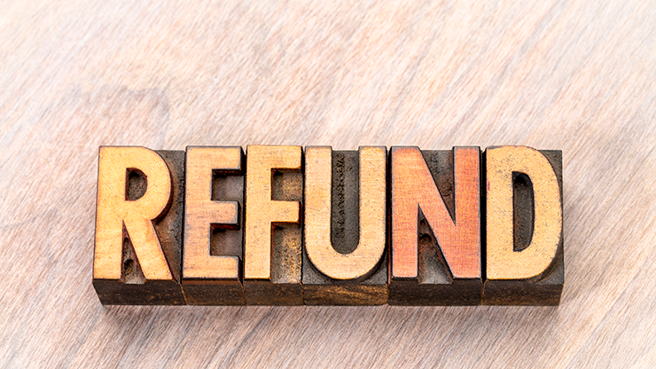 "Letter blocks spelling ""refund"""