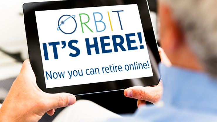 Tablet showing ORBIT logo and announcing online retirement application