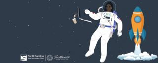 Image of astronaut floating in space. Orbit logo on spacesuit and rocket ship to the right of the astronaut.