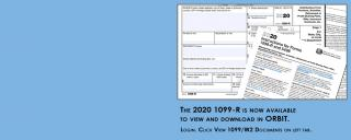 "Image showing fax forms on top of each other and text ""The 2020 1099-R is now available."""