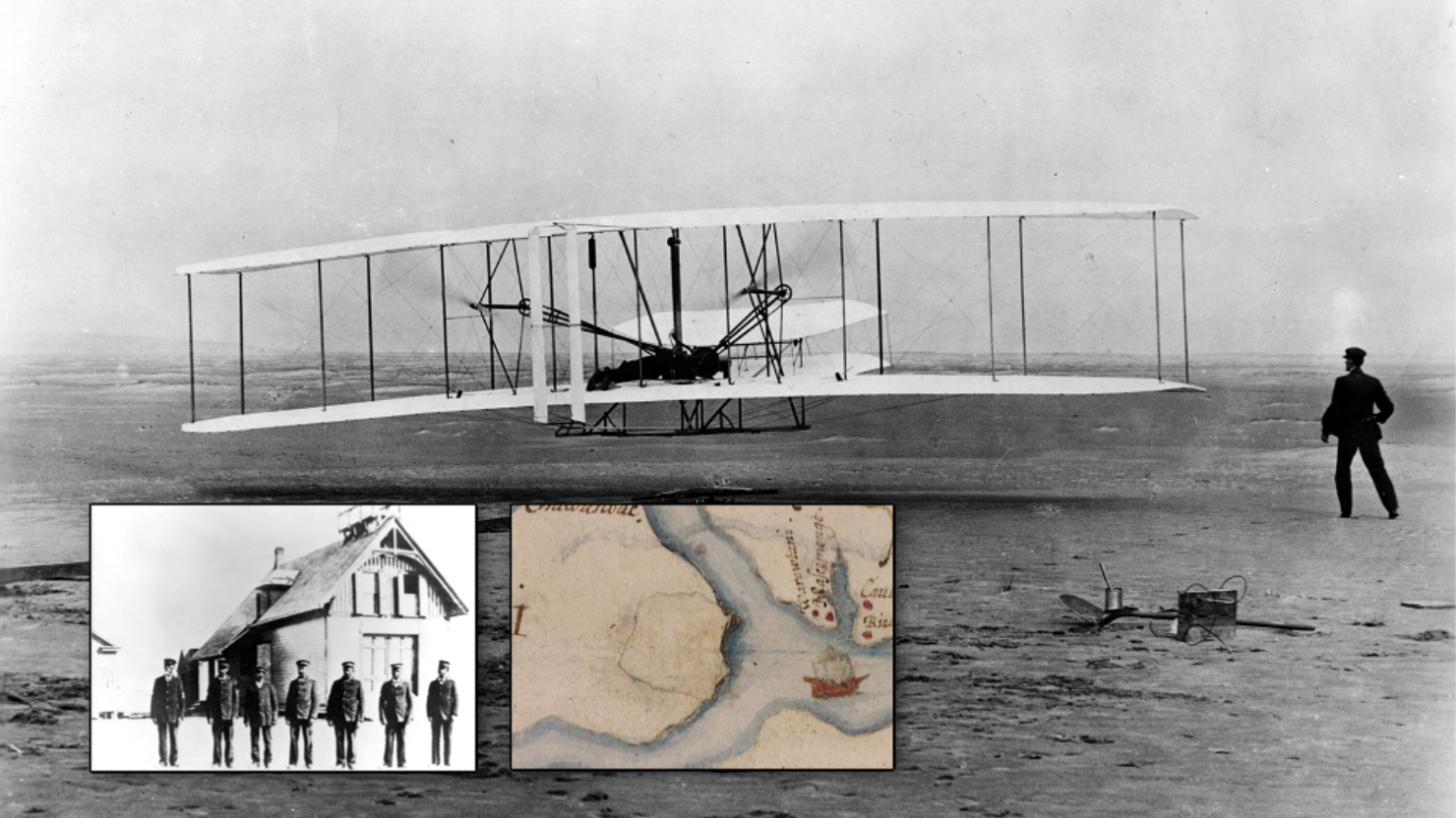 NC First blog post graphic feature the Wright Brothers, the first English Settlement and Richard Etheridge