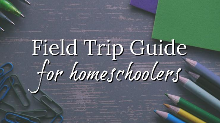 Field trip guide for homeschoolers graphic with school supply background