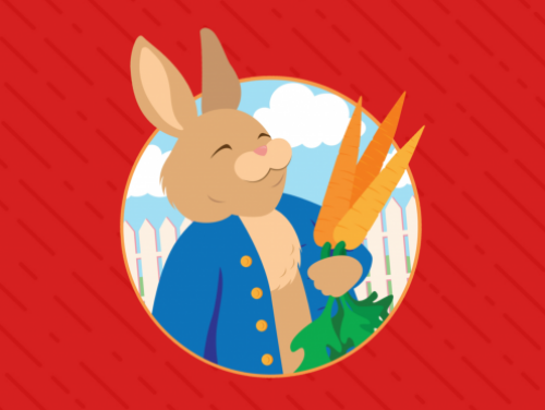 A Peter Rabbit tale cartoon graphic for kids show performance