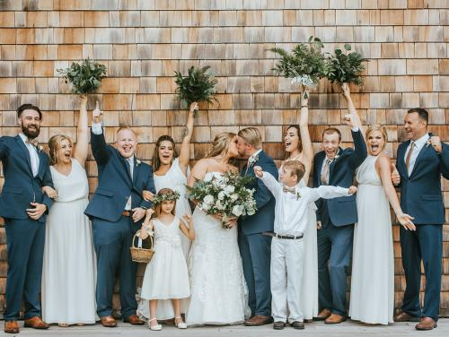 Bridal party cheering on the pavilion side stage at Roanoke Island Festival Park