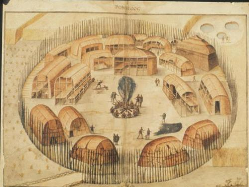 John White drawing of an American Indian town on Roanoke Island
