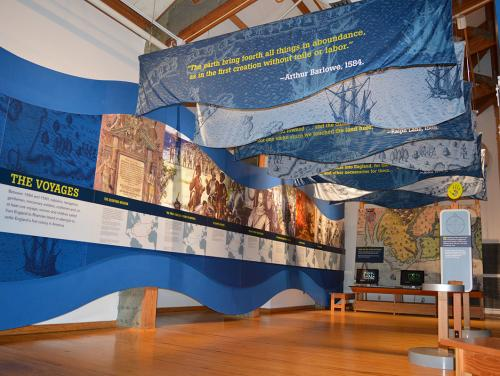 Roanoke voyages timeline exhibit in the Adventure Museum at Roanoke Island Festival Park
