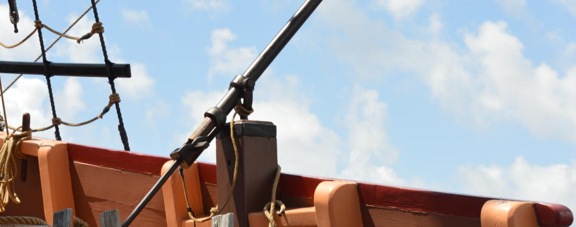 Sling gun on the Elizabeth II ship at Roanoke Island Festival Park