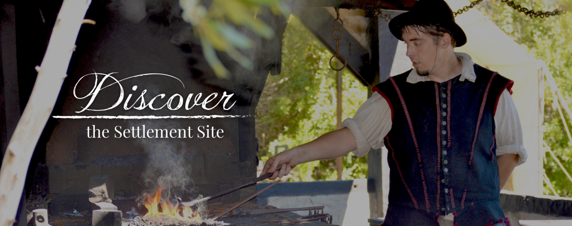 Discover the Settlement Site banner graphic featuring the blacksmith working at Roanoke Island Festival Park