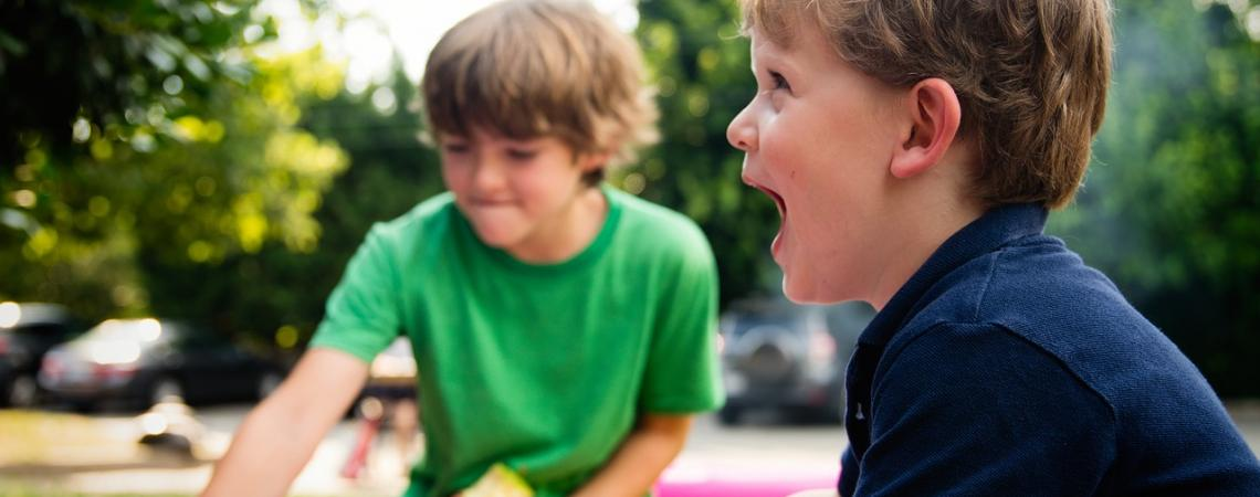 Two young boys playing during summer at Roanoke Island Festival Park