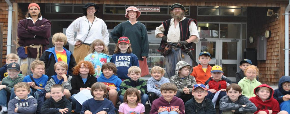 Scout group tour with historic interpreters at Roanoke Island Festival Park
