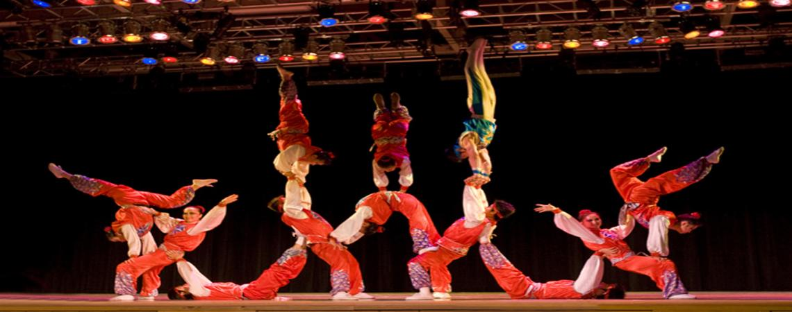 Dance performance in the indoor theater at Roanoke Island Festival Park