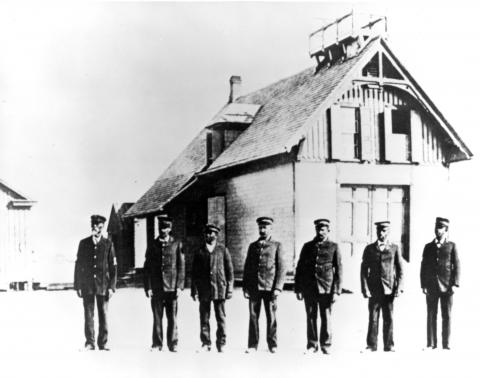 The first all-black crew of surfmen in front of the Pea Island Life-Saving Station