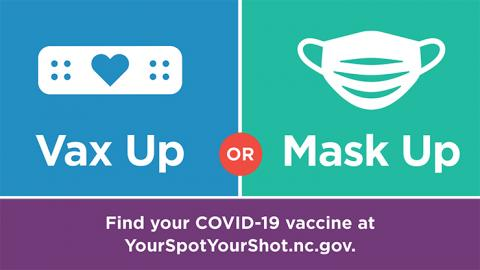 NC Covid 19 guidelines vax up or mask up graphic