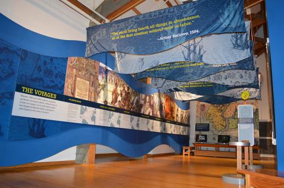 Roanoke voyages timeline exhibit in the Adventure Museum at Roanoke Island Festival Park