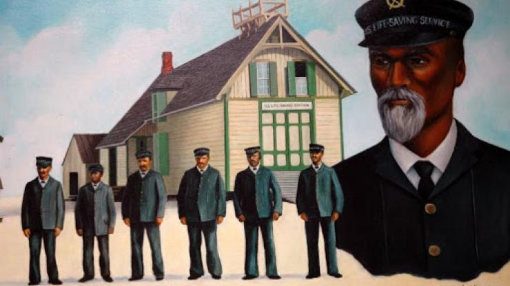 Keeper Richard Etheridge and the all-black surfmen at the Life-Saving Station