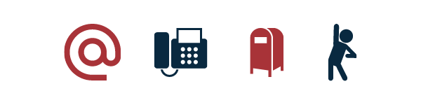 email, fax, mailbox and person icons
