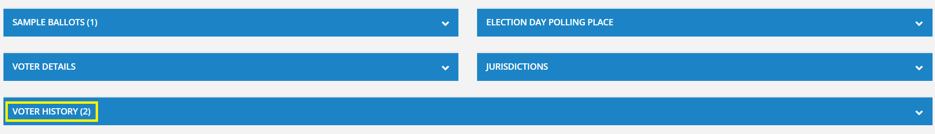 """Screenshot of the """"Voter History"""" section."""