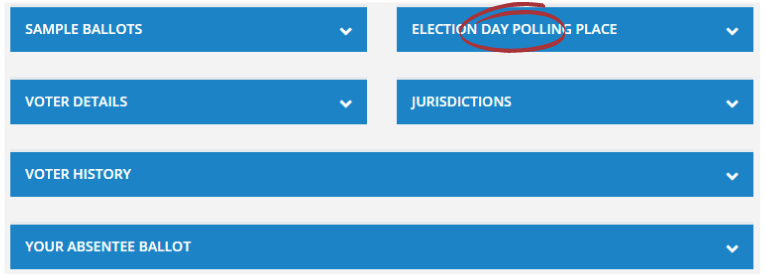 """Screenshot of a voter record with """"Election Day Polling Place"""" section selected."""