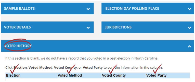 """Screenshot of a voter record with """"Voter History"""" section selected."""