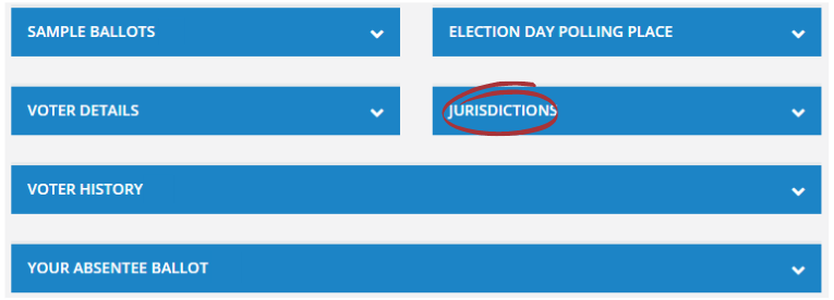 """Screenshot of a voter record with """"Jurisdictions"""" section selected."""