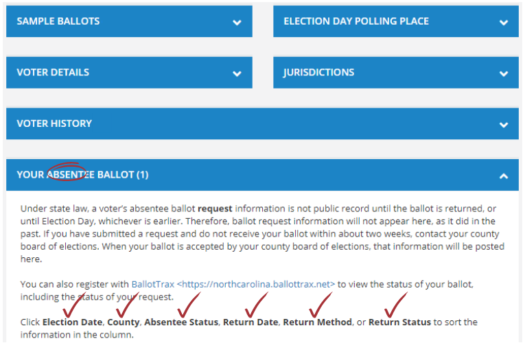 """Screenshot of a voter record with """"Your Absentee Ballot"""" section selected."""