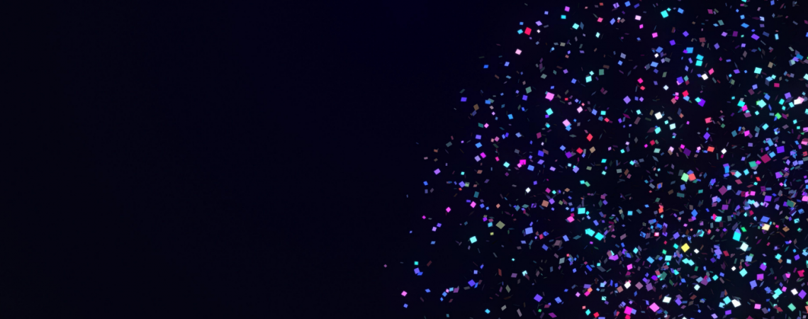 Confetti scattered across the night sky.