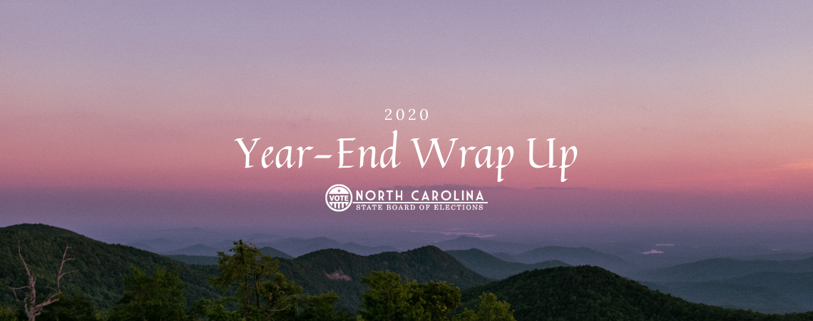 """Text over a purple sunset that says """"Year-End Wrap Up 2020"""""""