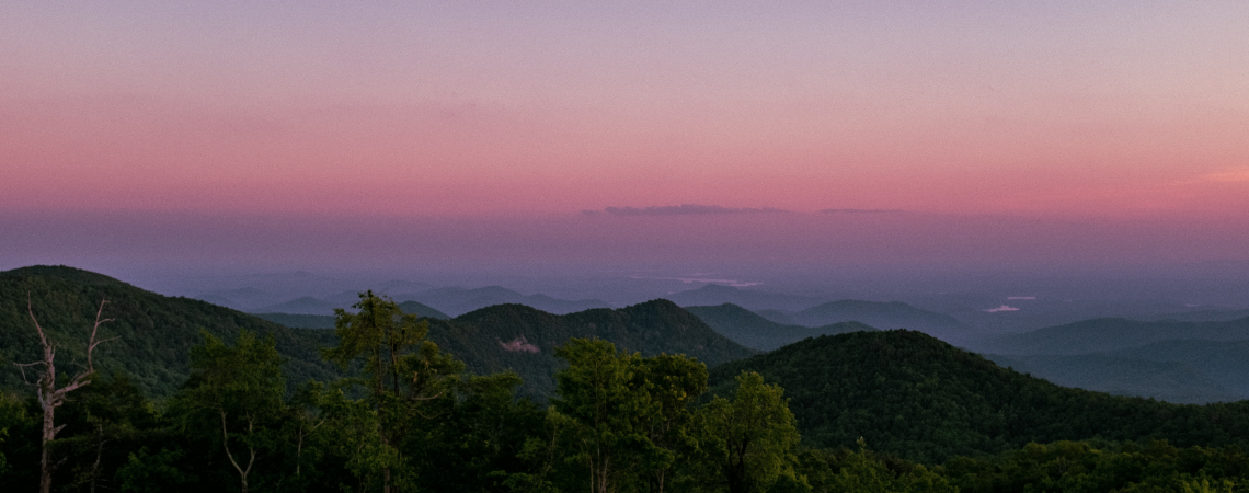 Purple sunset over the Blue Ridge mountains