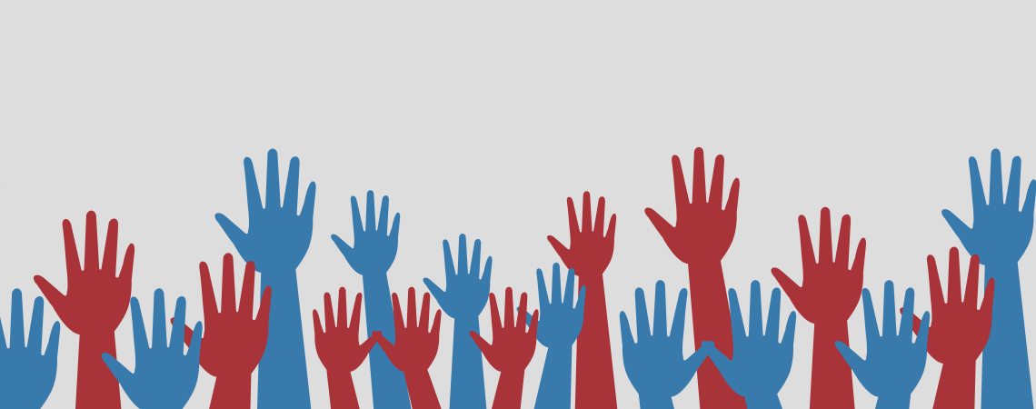 Red and blue hands raised (graphic)