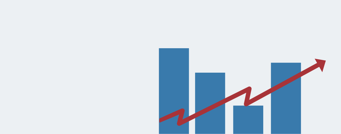 Bar chart with squiggle arrow trending upward